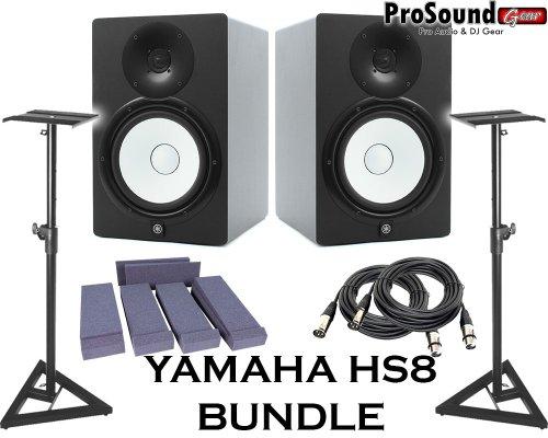 Yamaha HS8 - Par de monitores de estudio con cables XLR para monitor de aislamiento y soportes para altavoces