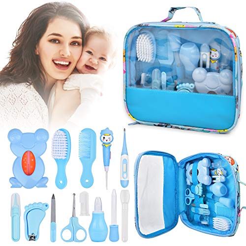 Baby Healthcare Grooming 14 Kits, 13 in 1 Baby Care Products Nail Clippers Trimmer Set, Comb Brush Thermometer Dispenser Nasal Aspirator Kit, Infant Nursery Newborn Essentials Stuff Shower Gifts, Blue