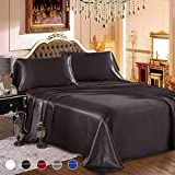 wavveUziz Satin Sheets Queen Size Black Satin Bed Sheet Set 16' Deep Pocket Silky Satin Sheet Set with 1 Fitted Sheet, 1 Flat Sheet and 2 Pillow Cases- Wrinkle, Fade, Stain Resistant- 4 Piece