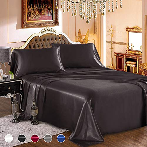 "wavveUziz Satin Sheets Queen Size Black Satin Bed Sheet Set 16"" Deep Pocket Silky Satin Sheet Set with 1 Fitted Sheet, 1 Flat Sheet and 2 Pillow Cases- Wrinkle, Fade, Stain Resistant- 4 Piece"