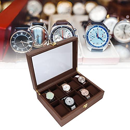 Chiwe Almacenamiento de Relojes, Madera compuesta Exquisita artesanía Forro de Terciopelo Organizador de Caja de Reloj Fácil Limpieza para Almacenamiento de Relojes para joyería