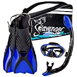 Seavenger Diving Snorkel Set - (Black Silicon/Green) - L