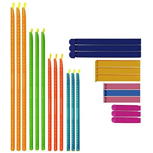 SENHAI 24 piezas Pinzas Cierra Bolsas, Clips de Plástico de 2 tipos, 8 Tamaños, Pinzas comida hermética de mantenimiento de alimentos frescos para bolsas de bocadillos - Longitud Múltiple, Color al Azar