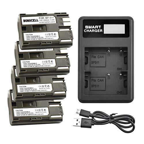 Bonacell BP-511/BP-511A Battery and Dual Charger Kit Compatible with Canon EOS 50D, 40D, 30D, 20Da, 20D, 10D, 5D 300D Digital Rebel D30 D60 PowerShot G6 G5 G3 G2 G1 Pro 1 Pro 90 Pro 90is(4 Pack)