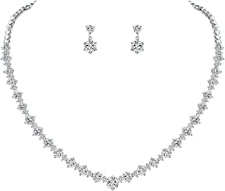 WeimanJewelry Silver/Gold Plated Women Cubic Zirconia Round Cut CZ Bridal Necklace and Drop Earring Set for Bride Wedding