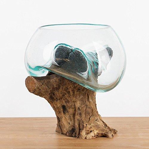 wohnfreuden Teakholz Wurzel mit Glas-Vase M 25-35 cm Holzwurzel mit Glas