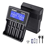 18650 Charger XTAR VC4L Battery Charger 4 Bays New 2021 Updated 21700 Battery Charger USB C Charger Not Including Batteries (VC4L Charger)
