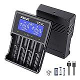 XTAR 2021 New VC4L 18650 Cargador 4 XTAR 4-Slot 18650 Cargador de batería Pantalla LCD Universal Cargador con Tipo C para baterías de iones de litio 18650 22650 20700 16340 14500 AA AAA