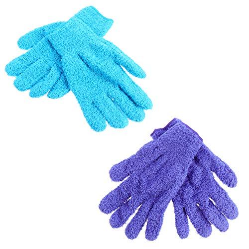 FAVOMOTO 4 guantes de microfibra para limpiar el polvo, guantes de fieltro de coral, para coches, camiones, espejos de casa, lámparas, persianas.