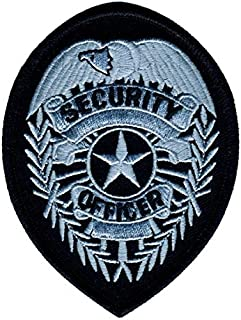 Rayon/Polyester Security Officer Badge Patch Oval, Shoulder Silver/Black, 2-3/4 x 3-3/4