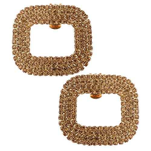 Damen 2 Schuhclips Schnalle Gold Elegant Strass Kristalle Schmuck-Accessoire für Schuhe Abendschuhe Schuhschmuck von LOVE SHOES