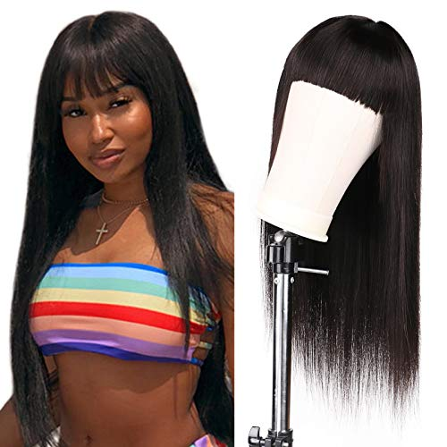 Hiyorlik Straight Human Hair Wig with Bangs Machine Mace Human Hair Wigs Glueless Brazilian Virgin Hair 150 Density Silky Straight Wig for Black Women None Lace Front 24 Inch Clearance