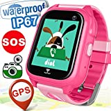 [FREE SIM Card Included] Kids Smart Watch Phone IP68 Waterproof GPS Tracker for 3-12 years old Kids Girls Boys Children Back to School Gifts Game Watch Camera Cellphone SOS Anti-lost Touch Smartwatch