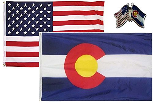 AES Wholesale Combo USA & State of Colorado 3x5 3'x5' Flag & Lapel Pin Fade Resistant Double Stitched Premium Penant House Banner Grommets