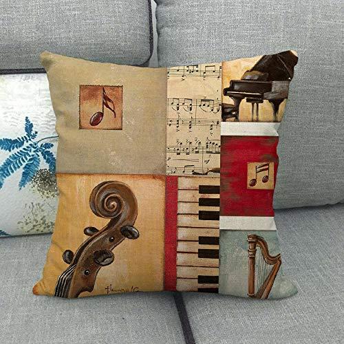 LPLH Micrófono, Piano, violín, Serie de Instrumentos Musicales, Funda de Almohada Estampada, Mapa de Almohada, Mapa 1368-20_45 * 45cm