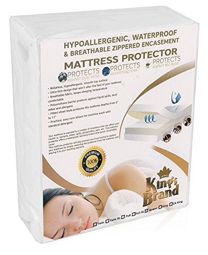 Kings Brand Furniture Mattress Protectors, 100 Polyester, White, Queen