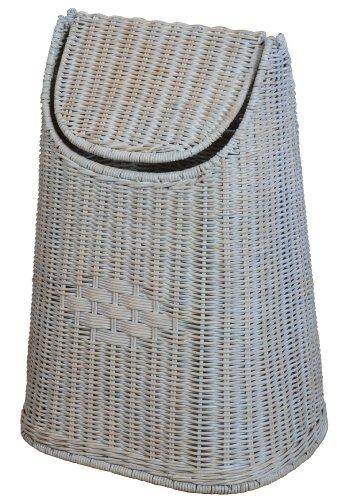Corbeille à papier avec couvercle à bascule en rotin tressé-korb outlet vintage blanc