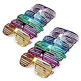 Schramm® 12 Stück Partybrille metallic 6 Farben Partybrillen Bunt Gitterbrille Spaß Spass Brille...