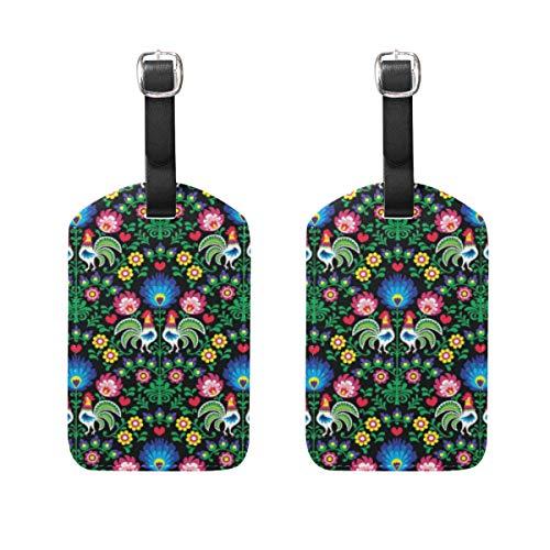 WINCAN Gepäckanhänger (Sortiert, 2 PK),Nahtlose polnische Volkskunst-Muster-HähneGepäckanhänger, Kofferanhänger für Rucksäcke