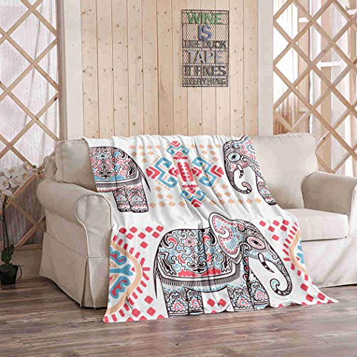 Kuidf Boho Throw Blanket Vintage Graphic Indian Lotus Ethnic Elephant African Tribal Ornament Flannel Bedding Blankets Luxury Oversized for Couch Bed or Sofa 50x60 Inches