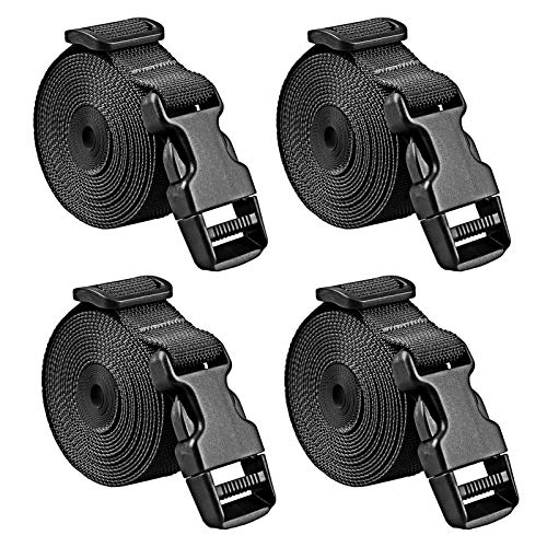 Premium Utility Straps with Quick Release Buckle Adjustable Short Nylon Lashing Straps for Backpack Tactical Lashings Camping Gear Sleeping Bag Mattress and More(Black 4Pcs/6.5ft)