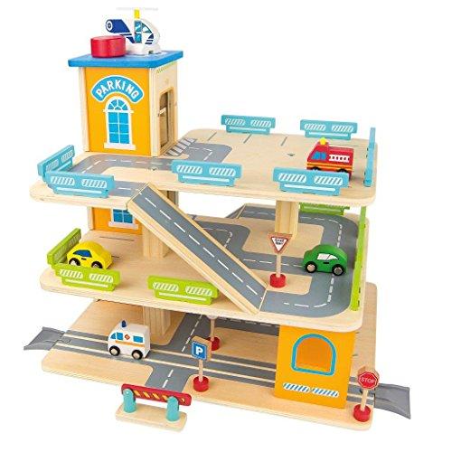 Leomark Garage in Legno, parcheggio a 3 Livelli, Ascensore per Auto e elicotteri Stazione, Garage 3 Piani e Auto macchinine, multipiano Garage per Bambini