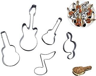 Efivs Arts Bass Guitar Music Notes Qute Stainless Steel Cookie Cutter Fondant Cutter Cake Cake Decoration Tools 5 Pcs Set
