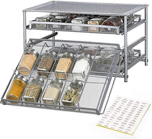 LIANTRAL Gewürzregal aus Metall für Gewürze und Kräuter, 3 Tier 30-Flaschen Spice Drawer Storage für Küche Esszimmer Arbeitsplatte Schrank, Silber
