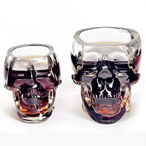 DOROCH Copa de Cristal de la Copa de la Cabeza del cráneo Taza de Cristal para el Whisky Vodka Vodka Transparent Home Webing Ware Man Gift Cup (Color : 75ml)