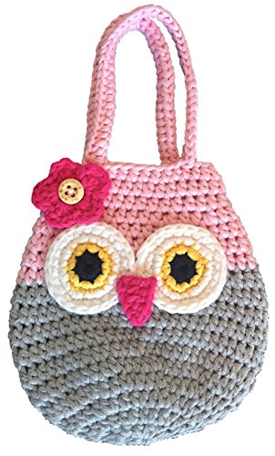 Sarah & Victoria Happy Owl Mini Purse, Adorable Pink & Grey First Handbag for Little Girls, 100% Handmade, Natural Soft Cotton, Crochet, Great 2, 3, 4, 5 Year Old Girl Gifts, Birthday Cuteness!