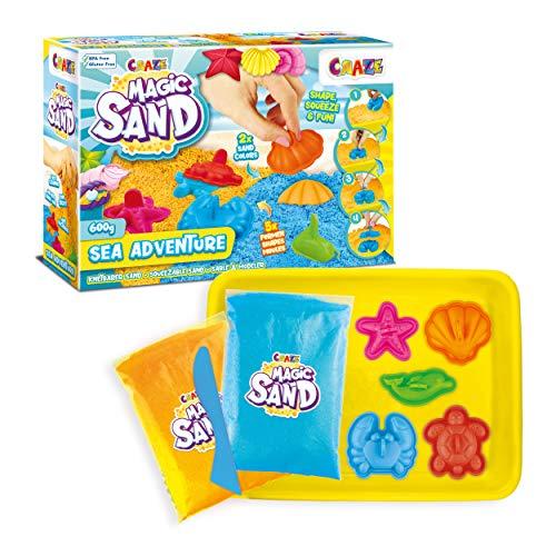 CRAZE Magic Sand Sea Adventures 600 g Bunter Kinetischer Indoorsand mit Förmchen 28605 28605-Arena cinética para Interior con moldes, Color Amarillo, Azul