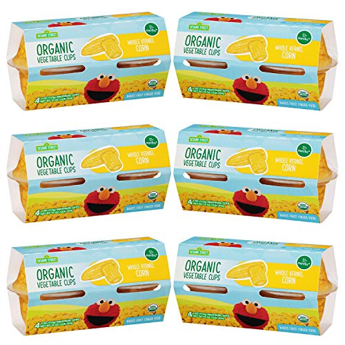 Sesame Street Organic Whole Kernel Corn | First Finger Food for Children 12+ Months | Ready-to-Enjoy! | 100% Supersweet Corn | Golden Yellow | Six 4-pack sleeves of 4.0 oz cups (24 cups total)