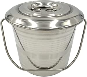 Stainless Steel Milk Pail Bucket with Lid, Handle, and Open Lip Edge, Also Good for Compost (3.5 Qt Pail with Lid)
