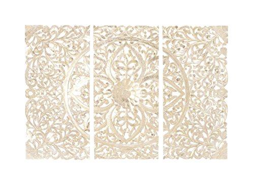 Benzara 30936 Wood Wall Panel, Set of 3, 66' W x 48' H