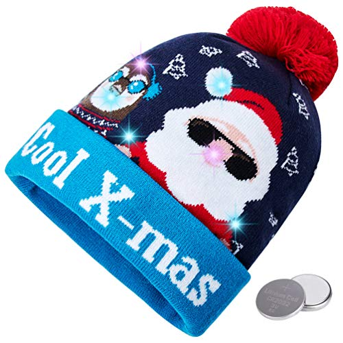 RAISEVERN Unisex Ugly LED Christmas Hat Light Up Holiday Cool X-mas Cute Santa Claus Penguin Bells Blue Knitted Pompom Cap Funny Sweater Beanie Hats for Family Festival Merry Xmas Party