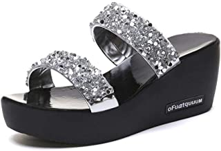 Summer Womens Shoes Casual Slippers Wedge Beach Indoor&Outdoor Shoes (Color : Silver, Size : 40)