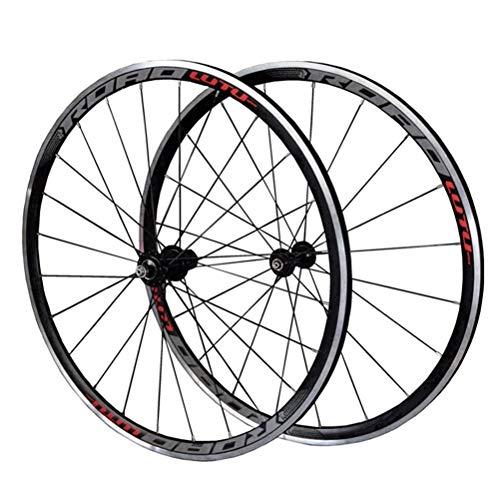 CHICTI 700C Rennrad-Radsatz Doppelwandiger Leichtmetallrand Scheibenbremse Fahrradradsatz 7-11 Geschwindigkeit 32H QR Abgedichtetes Lager Kassettennaben