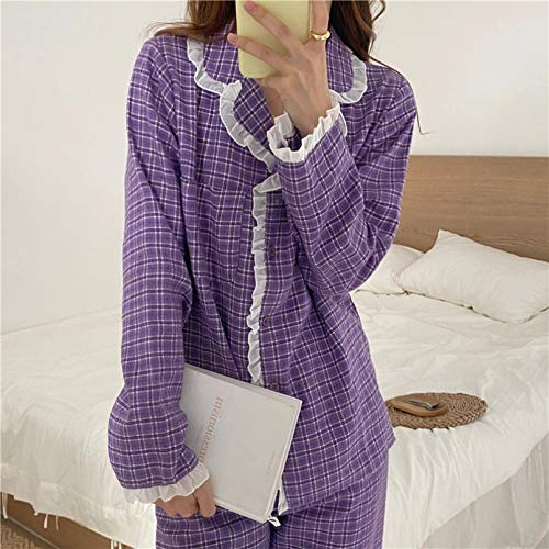 FLORVEY Pajama Flannel Gentle Chic Women Soft Sweet Solid Sleepwear Warm O-neck Cute Winter Loose Lady Pajamas Home Clothes