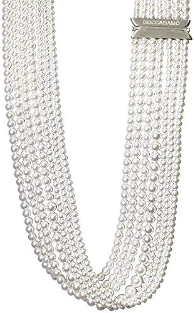 Boccadamo gioielli romantica trendy, collana multifilo per donna,in argento 925 e perle sintetiche RGR013W