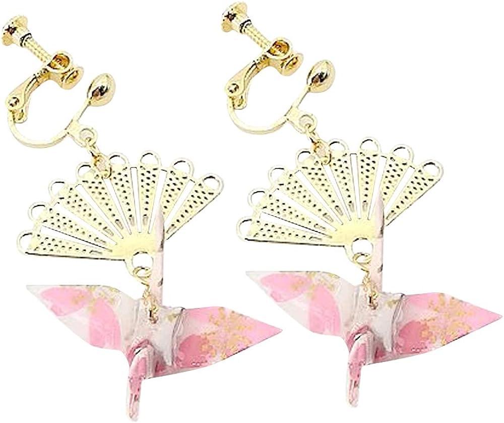 CUTIEJEWELRY For Womens Girls Crane Origami Bird Fan Dangle Cute Pretty Earrings Clip Ons