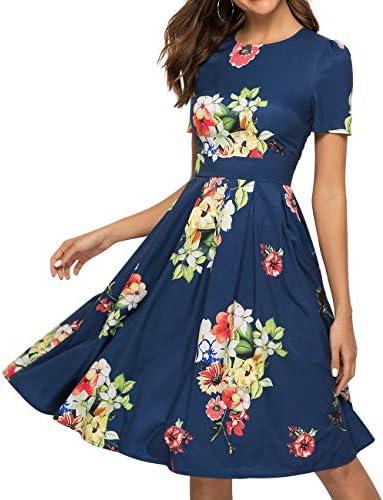 Simple Flavor Women s Floral Summer Midi Dress Vintage Evening Dress Short Sleeve 0006Navy XL product image