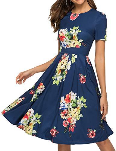Simple Flavor Women's Floral Summer Midi Dress Vintage Evening Dress Short Sleeve(0006Navy,XL)