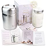Stainless Steel Yogurt Maker with 1 Quart Glass Jar and Complete Recipe Book to Make 12+ Easy Homemade Dairy...