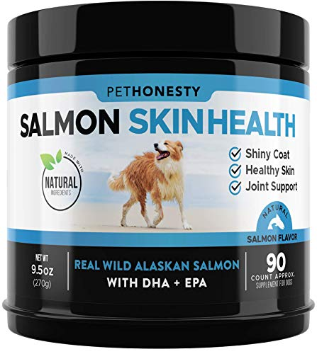 PetHonesty Salmon SkinHealth for Dogs - Omega 3 Fish Oil for Dogs All-Natural Wild Alaskan Salmon Chews for Dogs for Healthy Skin & Coat, Cure Itchy Skin, Dog Allergies, Reduce Shedding - 90 Ct.