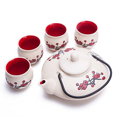 THY COLLECTIBLES Contemporary Art Decor Porcelain 5 PCS Tea Set Teapot Teacup Plum Blossom