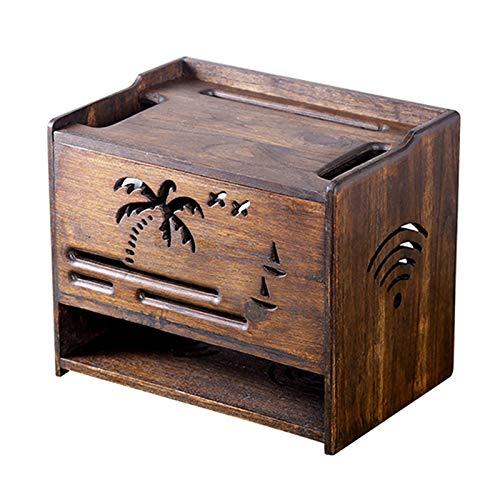 Router Rack TV Set-Top Box Rack Router Storage Box Madera Caja de...