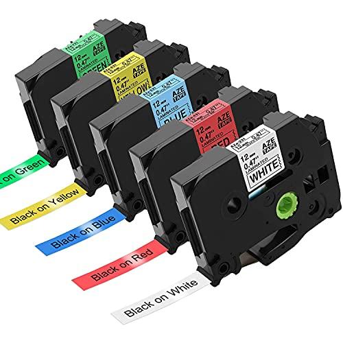 Nastro per Etichette Suminey compatibile in sostituzione di Brother P-touch Tze231 Tze-231 12mm combinazione di colori Nastri Etichette per Brother PT-H110 PT-H100R PT-1005 PT-1010 PT-2030 1010, 5PK
