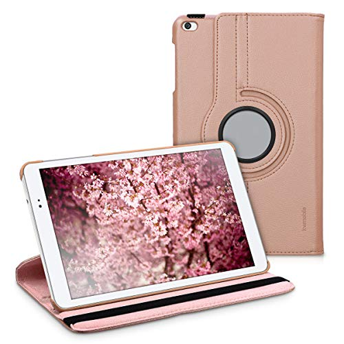 kwmobile 360° Case Compatible with Huawei MediaPad T1 10 - PU Leather Tablet Cover with Stand Function - Rose Gold