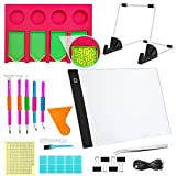 Diamond Painting Tools and Accessories(A Bit Expensive), with A4 LED Light Pad and Tray Organizer, Dimmable Light Brightness Board, Apply to Full Drill & Partial Drill 5D Diamond Painting for Adults