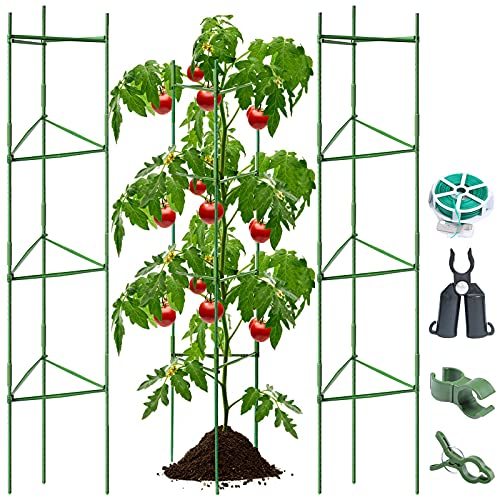 BLIKA 72 inches Tall Tomato Cages, 3 Pack Tomato Cages Assembled Garden Plant Support Stakes for Vertical Climbing Plants, Plant Stakes and Support, Tomato Cages for Garden, Tomato Plant Support